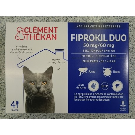 FIPROKIL DUO chat   4 pipettes