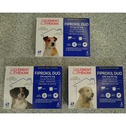 FIPROKIL DUO  chiens  taille S, M, L, XL  boite de 4 pipettes